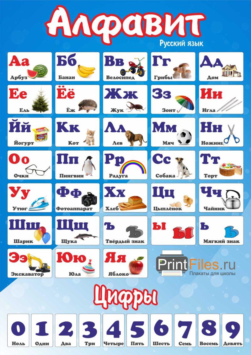 Русский алфавит с картинками - скачать и распечатать бесплатно