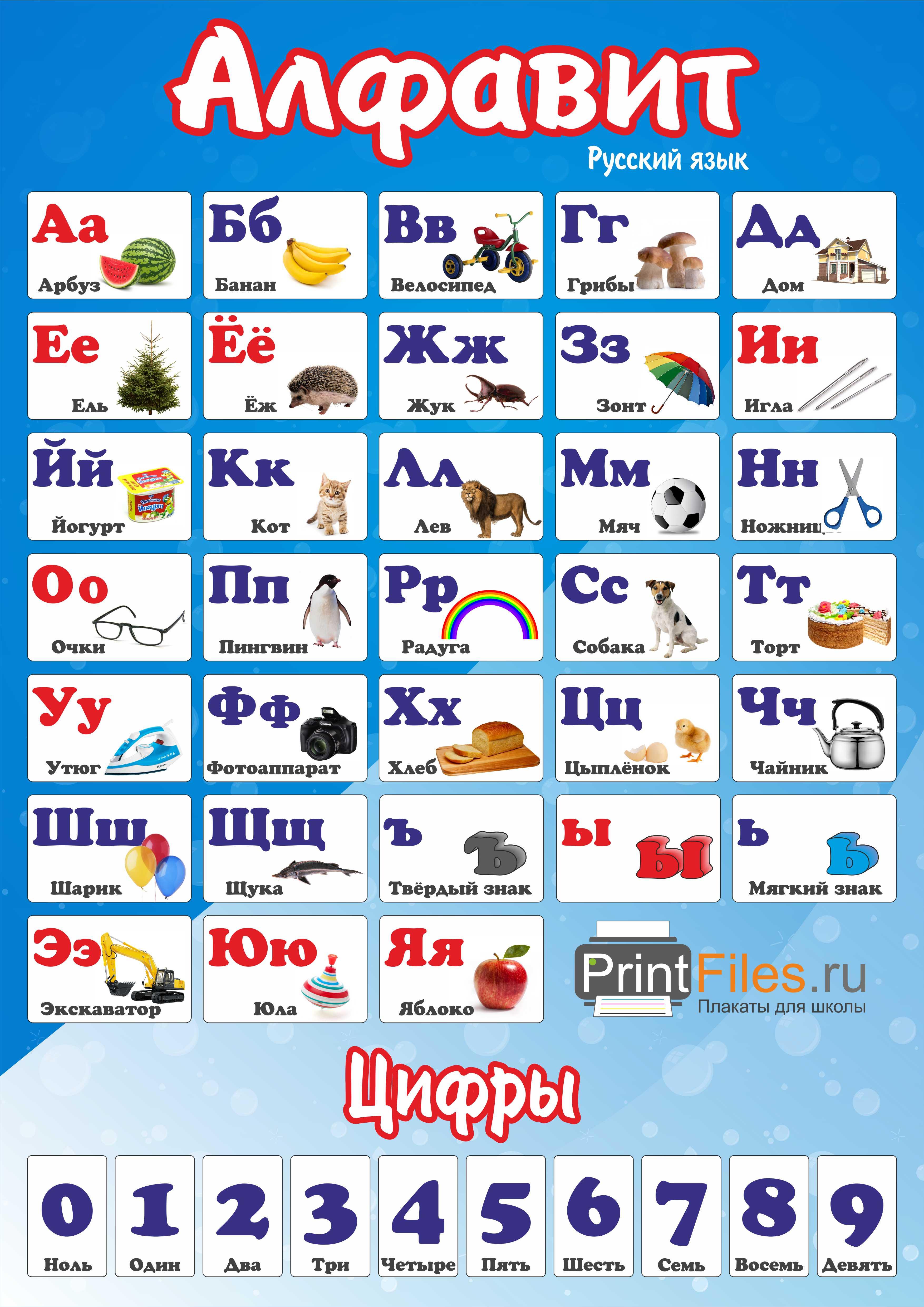 Русский алфавит с картинками - скачать и распечатать ...